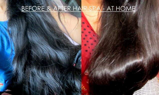 before and after Hair Spa for Oily Hair